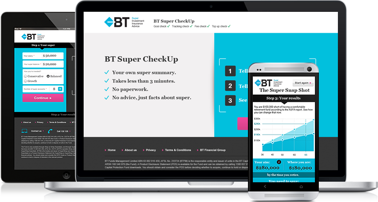 A screenshot of the BT Super CheckUp on desktop, tablet and mobile